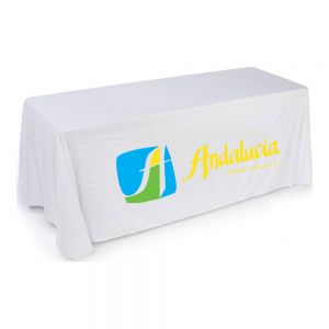 6FT(3) Full Length Sides Round Corner Table Throws with Custom 3 Color Graphic Imprint, White