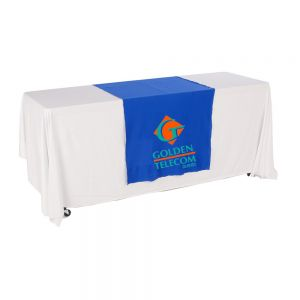 "30""W Table Runner with 2-Color Printing on Blue"