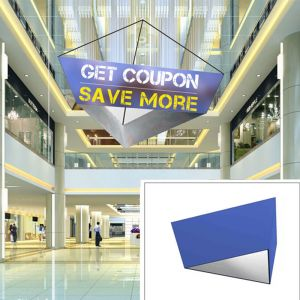10ft Tapered Triangle Hanging Banner with Double Sides Stretch Fabric Graphics
