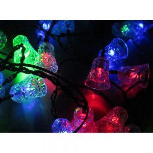 Waterproof 20 LED XMAS Bells Solar String Fairy Flash Light Garden Tree Décor