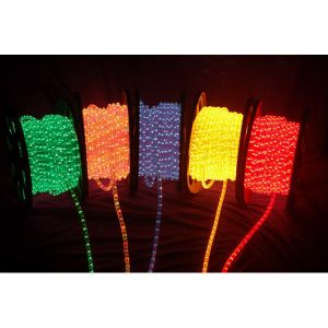 AC110V/220V High Voltage Rainbow Tube LED Rope Lights with Round Wire 24 LEDs/M, 100m(328ft)/roll/pack