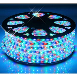 AC110V/220V High Voltage Waterproof RGB Colorful LED Strip Rope Lights with 60 LEDs/m SMD 3528, 100m(328ft)/roll/pack