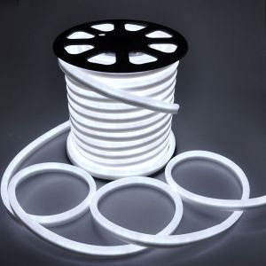 AC110V/220V Waterproof Flexible LED Neon Rope Light with 80leds/m DIP LED 4.8W/M IP65, 50m(164ft)/Roll/Pack