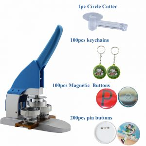 "2016 New Pro 1-1/4"" 32mm Button Maker Machine Badge Press+ Pin Buttons+Magnetic Buttons+Keychains +1pc 32mm Circle Cutter"