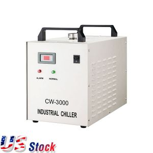 Ving US Stock, AC110V, 60Hz CW-3000DG Thermolysis Industrial Water Chiller for Laser Engraver with 60W / 80W CO2 Glass Tube