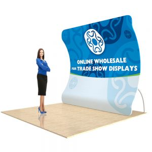 9ft Vertical Curved Back Wall Display with Custom Fabric Graphic(Graphic Included/Single Sided)
