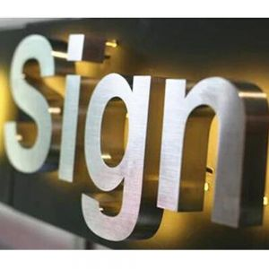 Indoor Customized Stainless Steel LED Channel Letters Backlit Signage