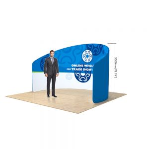 10ft C Shape Back Wall Display with Custom Fabric Graphic