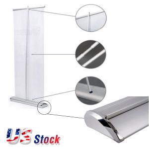 "US Stock-33""W x 79""H Upscale Silver Cap Broad Base Retractable / Roll Up Banner Stand (Stand Only)(5pcs/pack)"