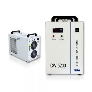 S&A CW-5200BG Industrial Water Chiller (AC 1P 220V 60Hz) for a Single 130W or 150W CO2 Glass Laser Tube Cooling, 0.68HP