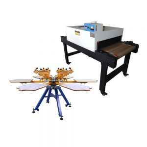 US Stock-6 Color 6 Station Manual Screen Printing Machine & 220V 4800W Conveyor Tunnel Dryer 5.9ft. Long x 25.6in Belt