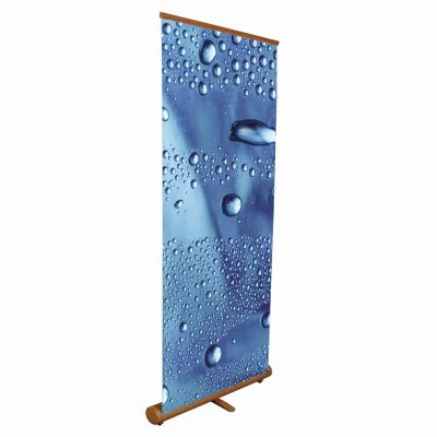 "Elliptical Roll Up Bamboo Banner Stand Display– 33.5"" x 78.7"" (85 x 200cm)"