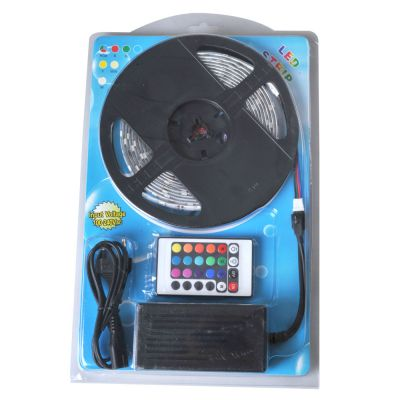 Waterproof RGB Color Changing LED Strip Light Kit 16.4ft LED Light Strip(150 SMD 5050)+adaptor+Remote 5m/roll