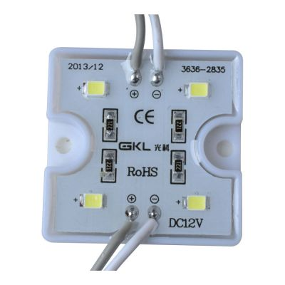 SMD 2835 Waterproof LED Module (4 LEDs, White Light, 0.96W, L36 x W36 x H5mm)