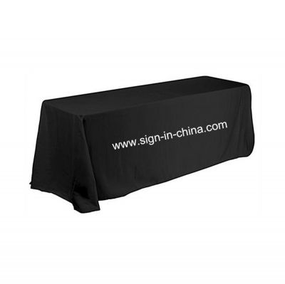 8ft(4) Full Length Sides Rectangular Table Throws with Custom Logo Imprint On Black
