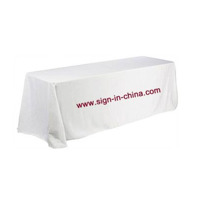 8ft(4) Full Length Sides Rectangular Table Throws with Custom Logo Imprint On White