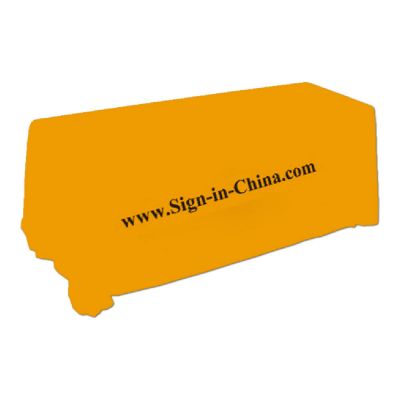 8ft(4) Full Length Sides Rectangular Table Throws with Custom Logo Imprint  On Apricot