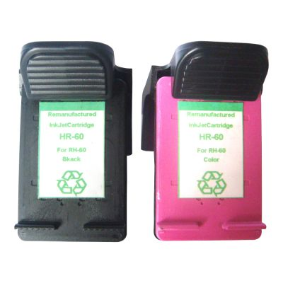 Re-manufactured Ink Cartridge HP 60XL (CC640WN and CC641WN ) BK and   Color