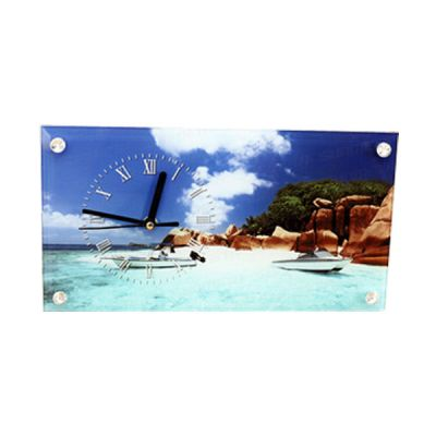 "11.8"" x 6.3"" Sublimation Blank Glass Photo Frame with Glossy Clock"