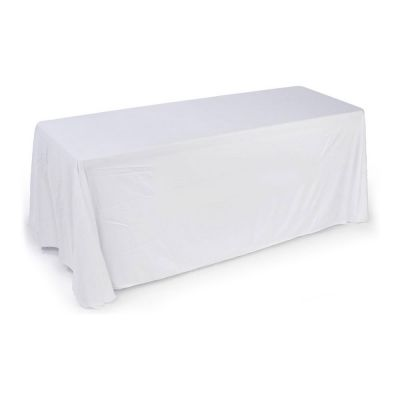 6ft(3) Full Length Sides Rounded Corner Table Throws  White