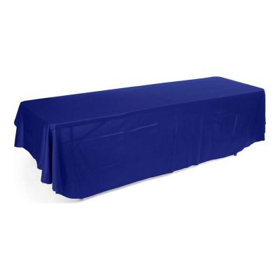 8ft(3) Full Length Sides Rounded Corner Table Throws  Blue