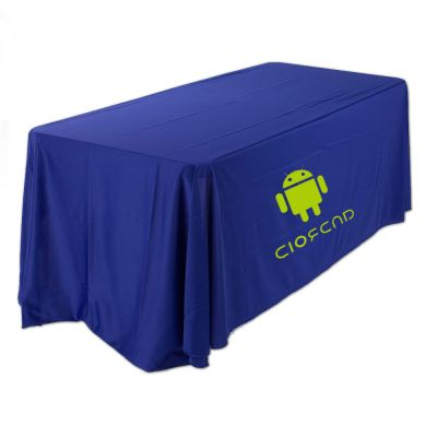 6ft(3) Full Length Sides Round Corner Table Throws with Custom  Logo Imprint On Blue