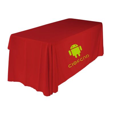 6ft(3) Full Length Sides Round Corner Table Throws with Custom  Logo Imprint On Red
