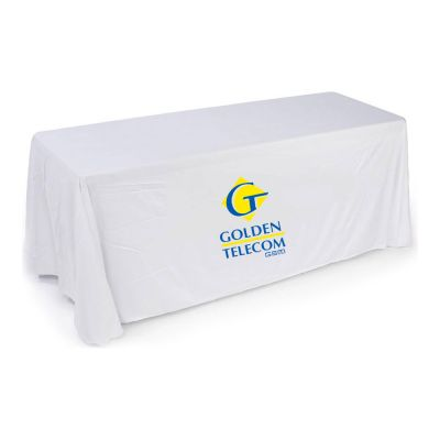 6ft(3) Full Length Sides Round Corner Table Throws with Custom 2 Color Graphic Imprint, White