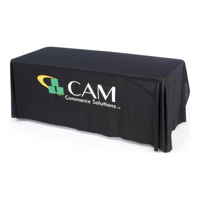 6ft(3) Full Length Sides Round Corner Table Throws with Custom 3 Color Graphic Imprint, Black