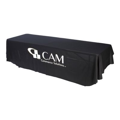 8ft(3) Full Length Sides Round Corner Table Throws with Custom Logo Imprint  On Black