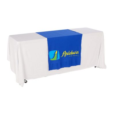"30""W Table Runner with 3-Color Printing on Blue"