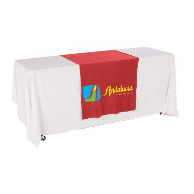 "30""W Table Runner with 3-Color Printing on Red"