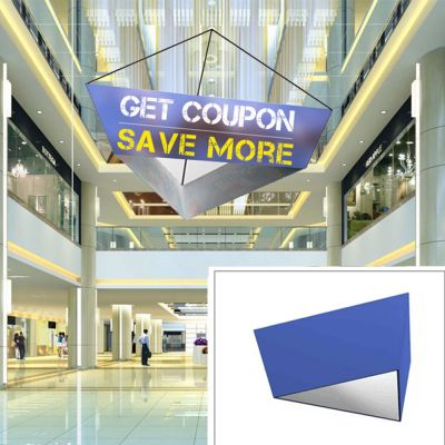10ft Tapered Triangle Hanging Banner with Stretch Fabric Graphics
