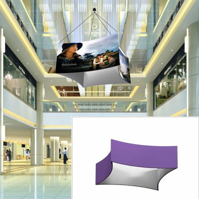 12ft Curved Square Hanging Banner with Double Sides Stretch Fabric Graphics