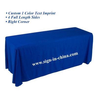 Standard 8ft Four Sides Rectangular Table Throws with Custom Logo Imprint On Royal Blue