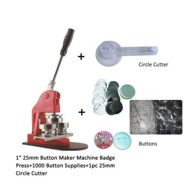 "1"" 25mm Button Maker Machine Badge Press+1000 Button Supplies+1pc 25mm Circle Cutter"