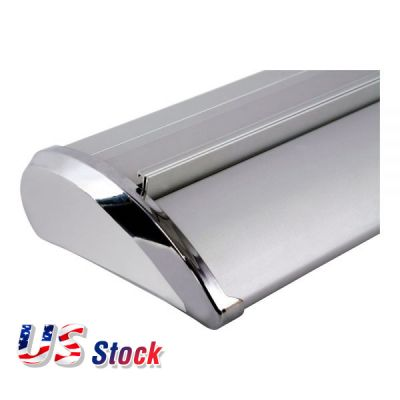 "Clearance Sale! US Stock-33"" W x 79"" HSilver Cap Broad Base Roll Up Banner Stand (Stand Only)"