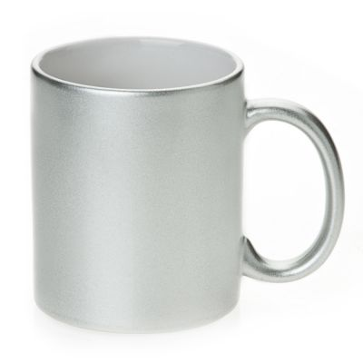 11 OZ Metallic Silver Sublimation Mug with Orca Coating for Sublimation Printing