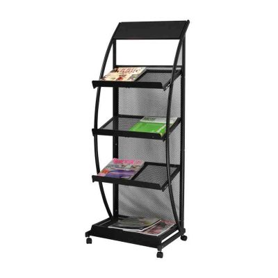 S Style Iron Literature Display Rack With 4 Pockets