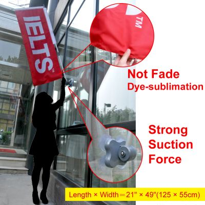 Banner Pole with Dual Suction Cup System
