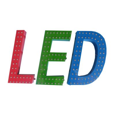 Indoor Front Lit LED Punch Exposed Channel Letter, Pierced Metal Border