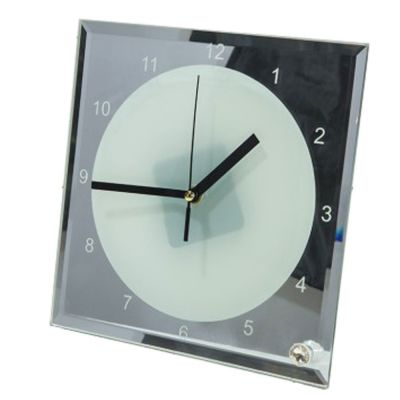 "7.8"" x 7.8"" Sublimation Blank Glass Photo Frame  with Clock"