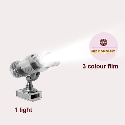 20W Rotary Ring Pattern Scanning LED Advertising Logo Projector Light (1 Light + 1 Three Colors Film)