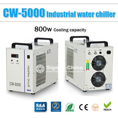 S&A CW-5000AI Industrial Water Chiller for a Single 5W-10W Solid-state Laser Cooling, 0.4HP, AC 1P 220V, 50Hz