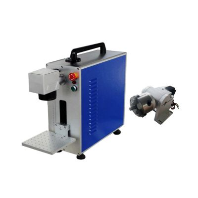 US Stock, Portable 20W Fiber Laser Marking Metal EngravingEZ Cad FDA Certified, Rotary Axis Include
