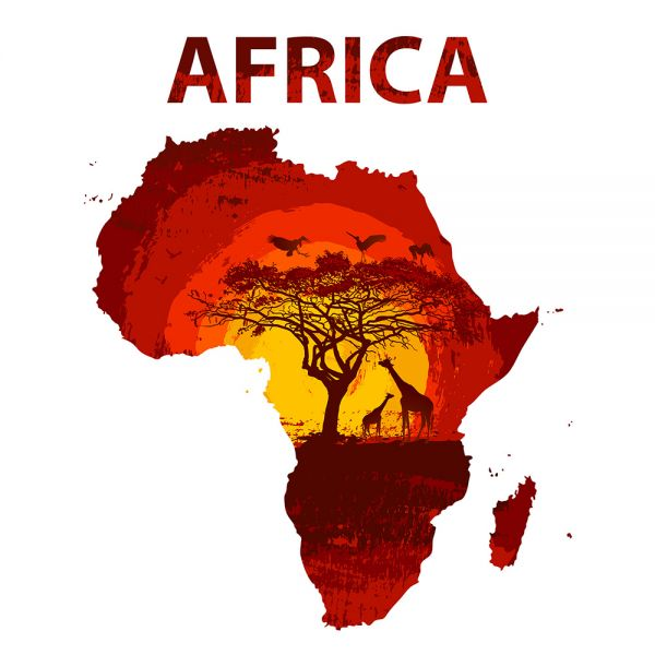 Animals And Sunset Land Of Africa Map Vector Poster Free