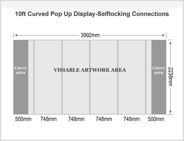 10ft Curved Pop Up Display(Graphic included)-Selflocking Connections