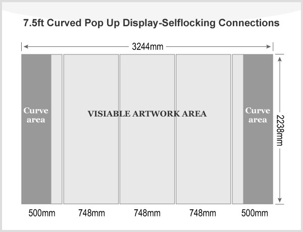 7.5ft Curved Pop Up Display(Frame only)-Selflocking Connections