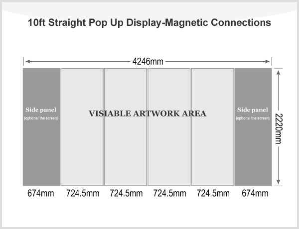 10ft Straight Pop Up Display(Frame only)-Magnetic Connections