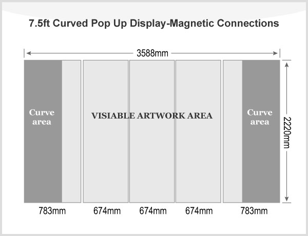 7.5ft Curved Pop Up Display(Graphic included)-Magnetic Connections